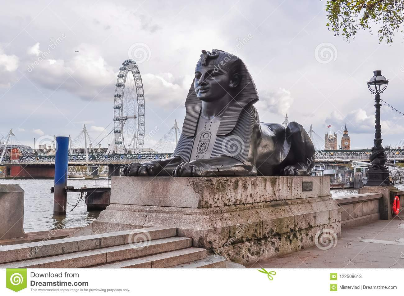 Statue Of Sphinx On Victoria Embankment London Uk Stock Image