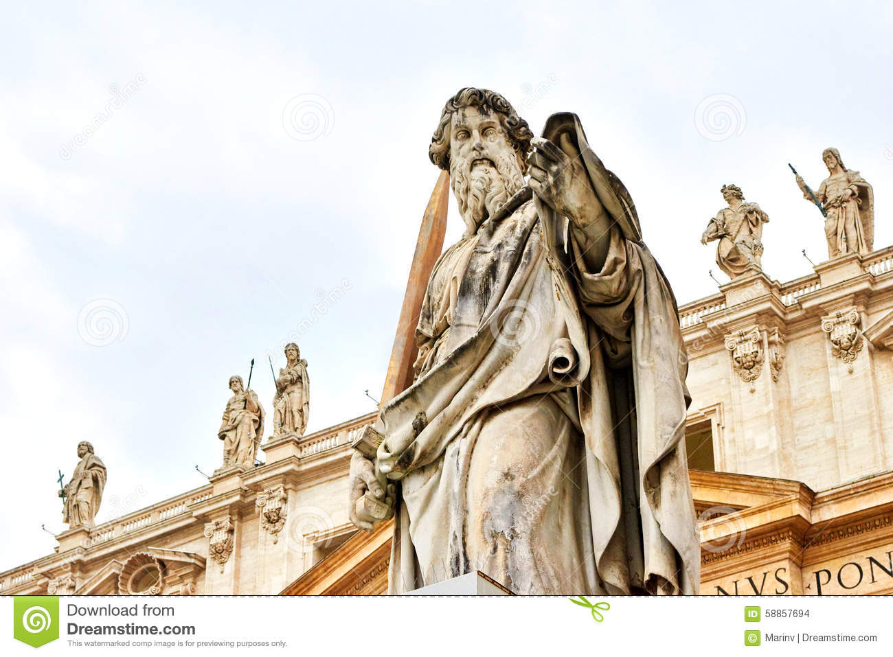 Statue Of St. Paul Outside The Basilica Of St. Peter Stock Photo ...