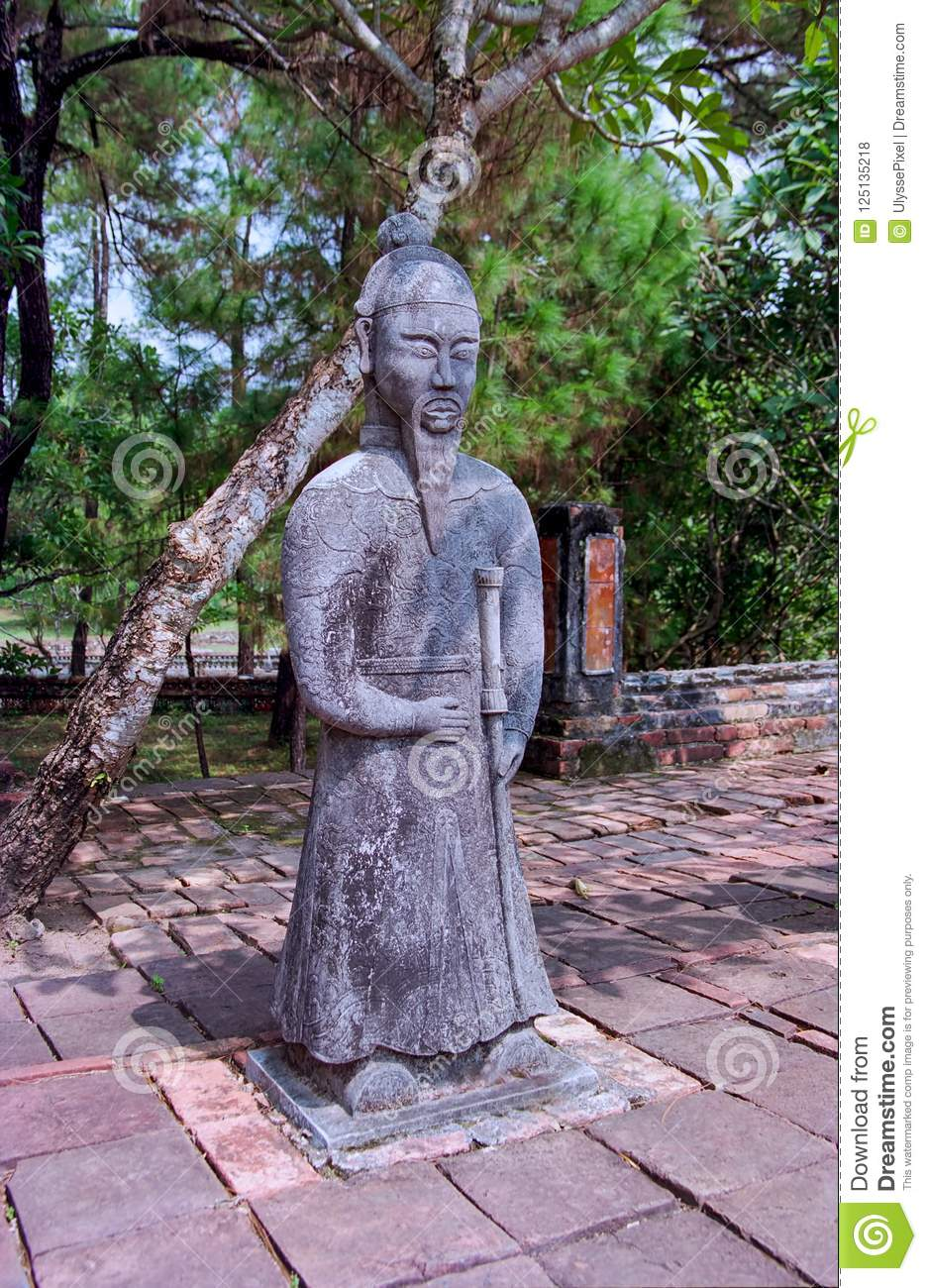 Statue at the tomb of Emperor Khai Dinh, Hue - Vietnam