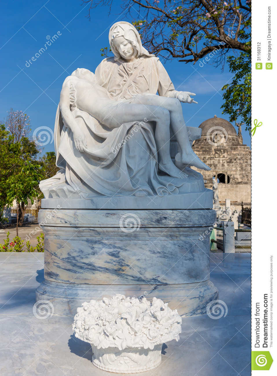 Statue Of The Virgin Mary Cradling A Dead Jesus Stock