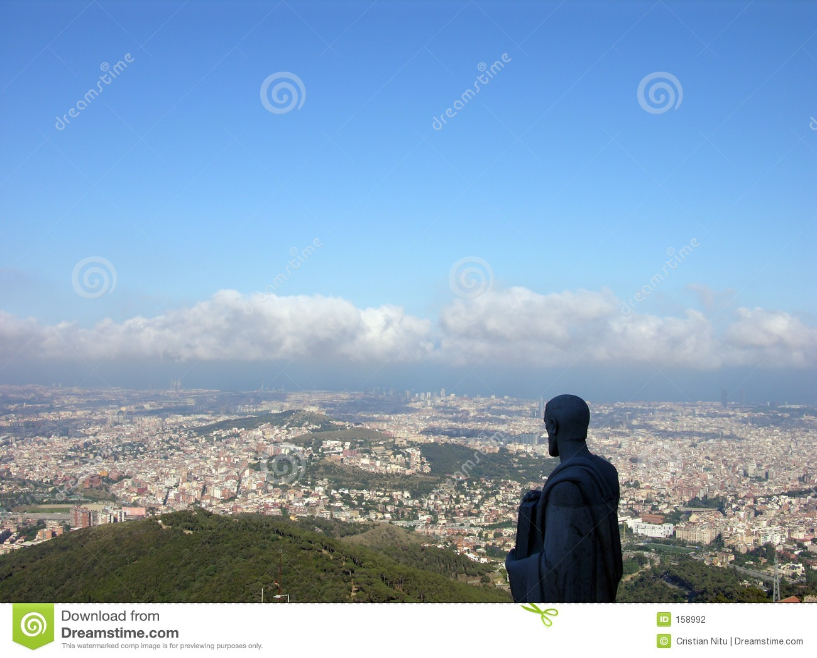 Statue Watching Barcelona