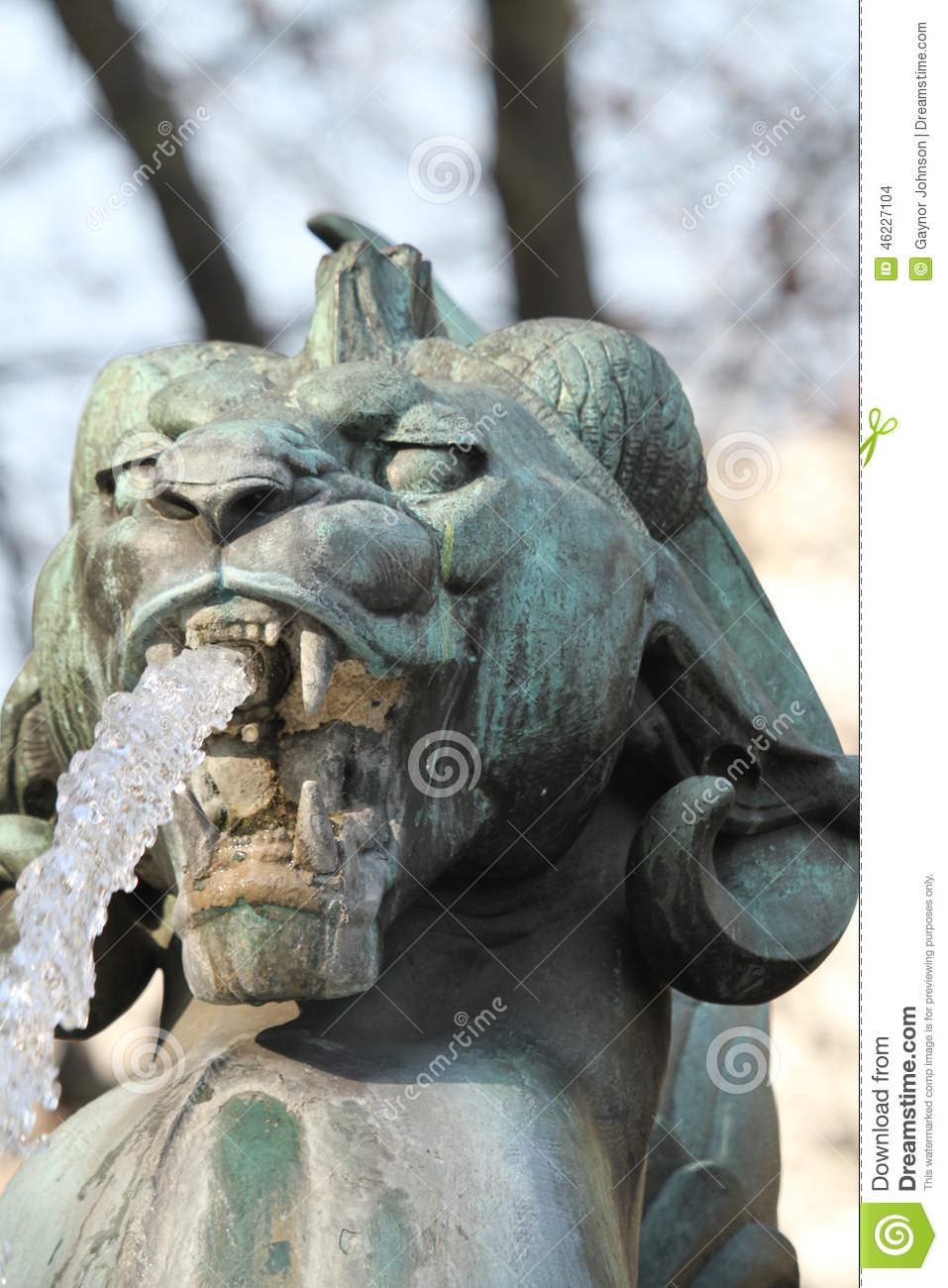 Statue at a water fountain