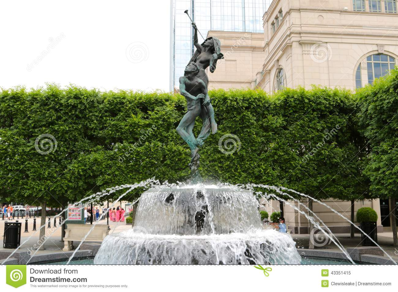 Water fountains with statues - Schermerhorn Symphony Center Water Fountain Nashville Editorial Image