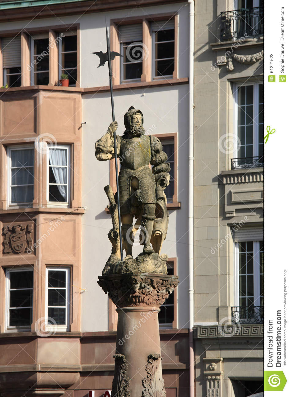 Statue Of Yeoman Atop A Fountain Place De La R Union Mulhouse Stock Photo Image 61221528