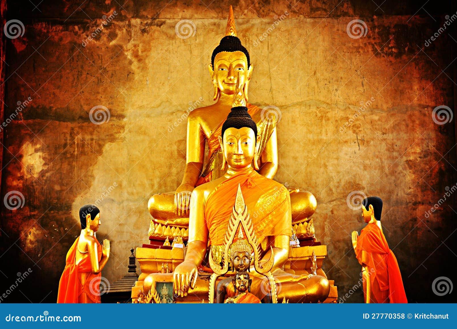 Statues d or de Bouddha