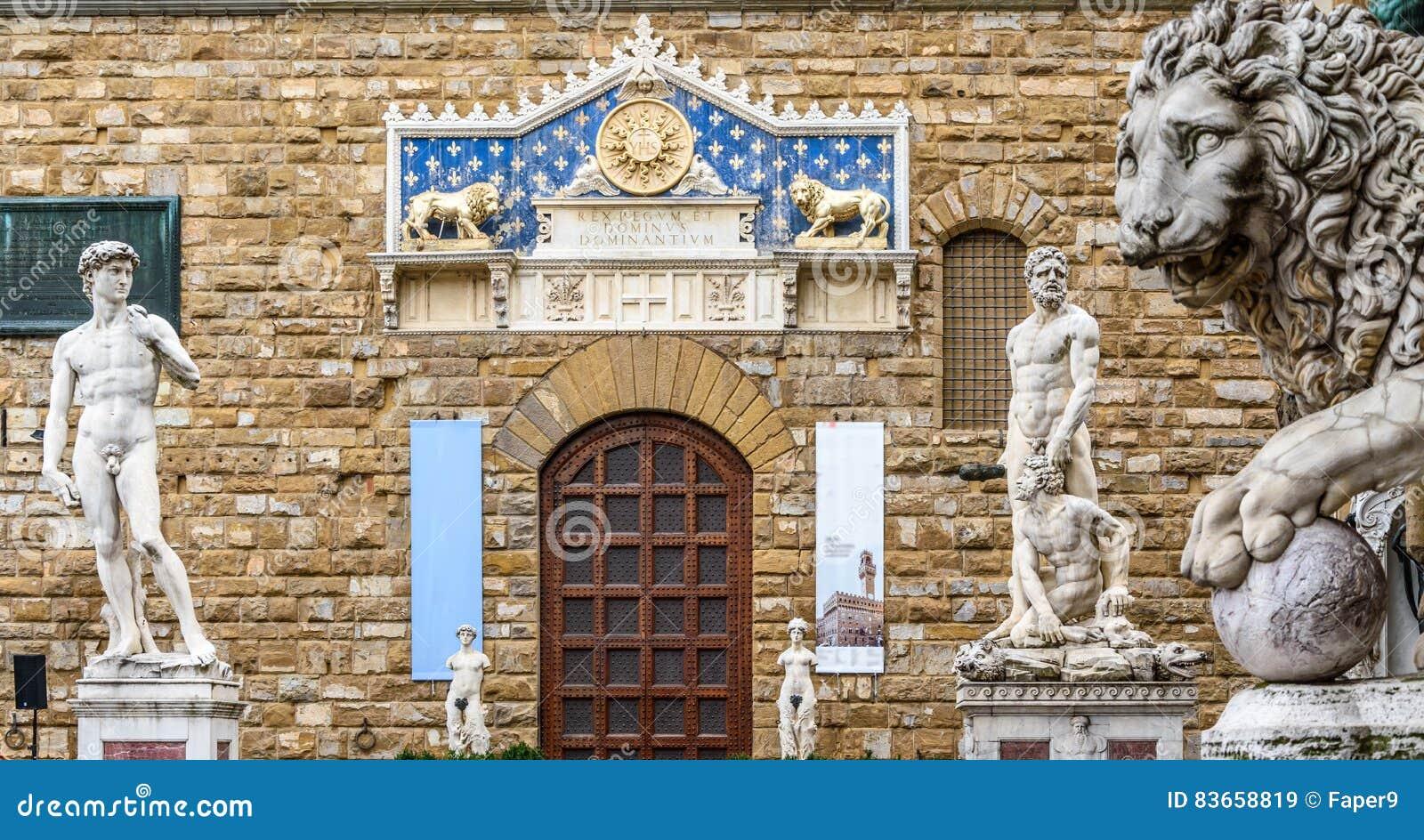 Statues of David and Hercules near Palazzo Vecchio in the Piazza della Signoria.