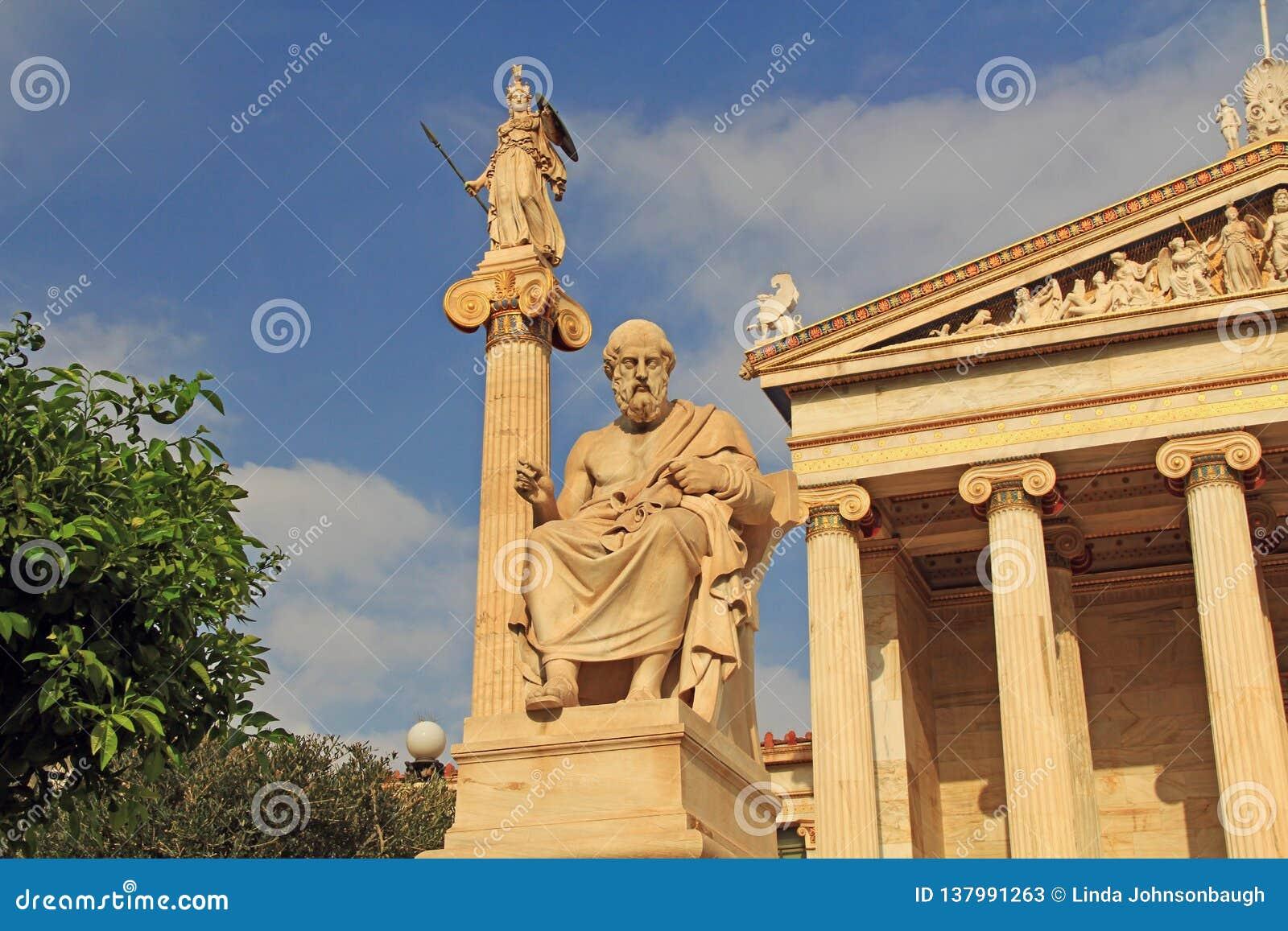 Statues de l académie nationale des arts à Athènes, Grèce