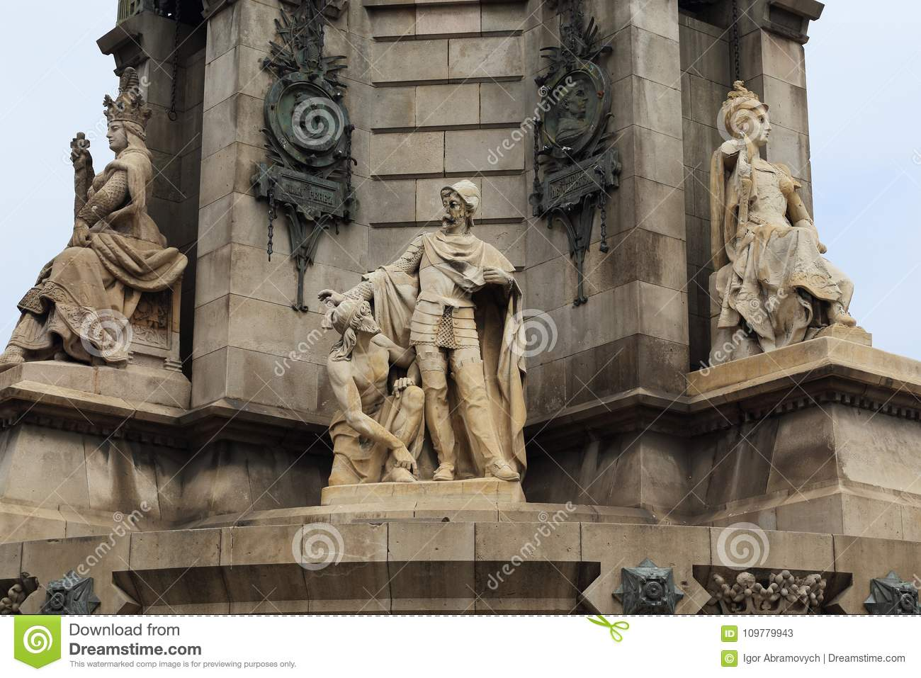 Statues at the foot of Columbus Monument Column, Barcelona