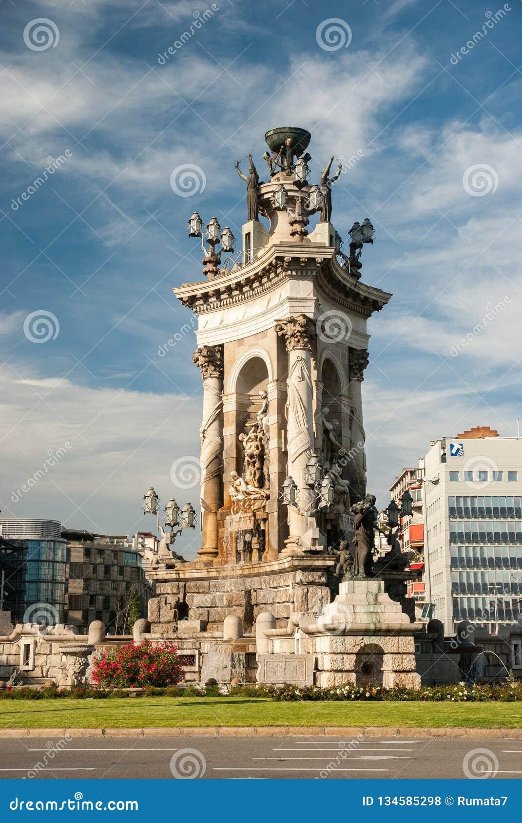 Statues and Fountain at Plaza de Espana in Barcelona, Spain