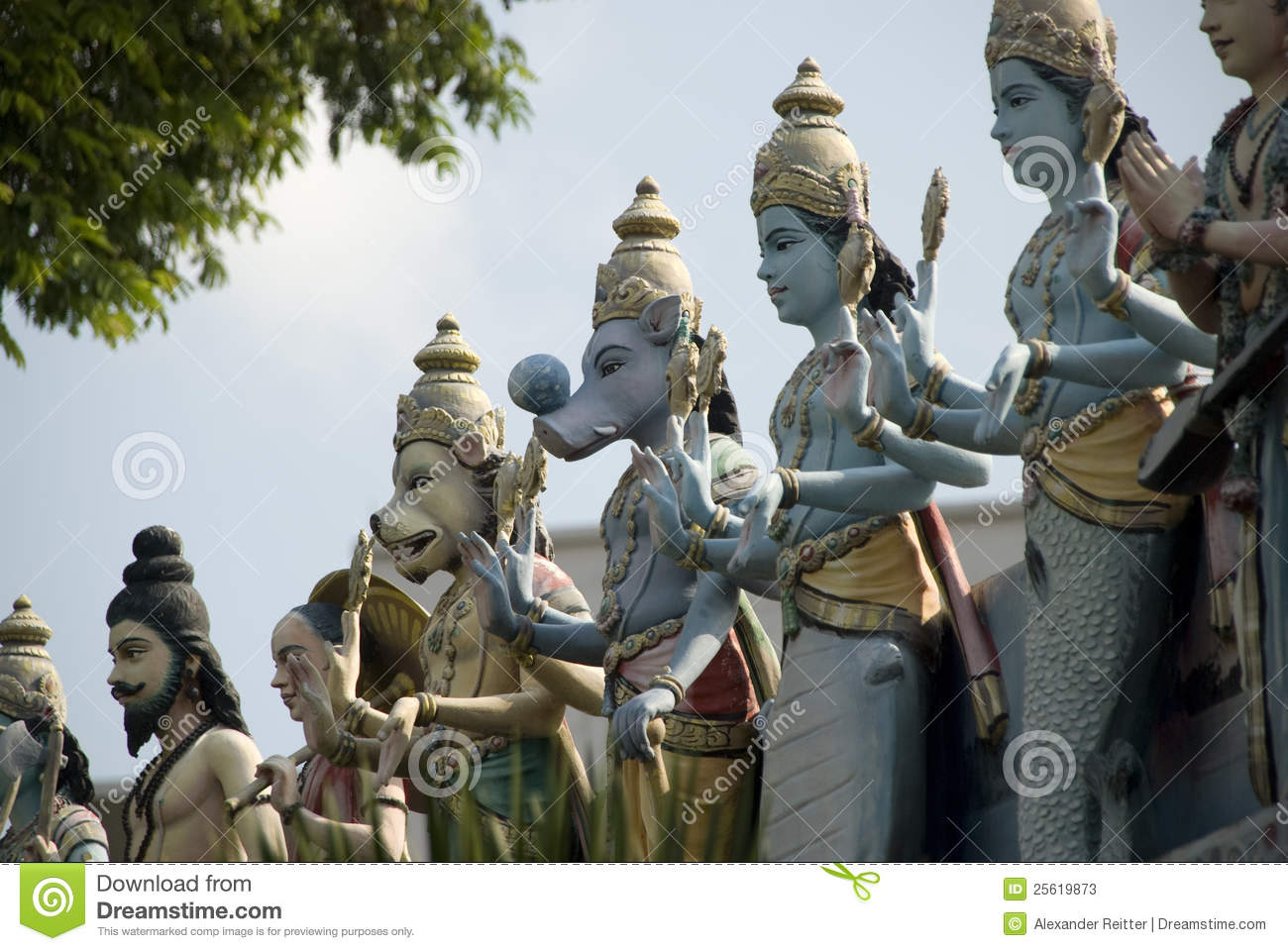 Statues of gods on indian temple