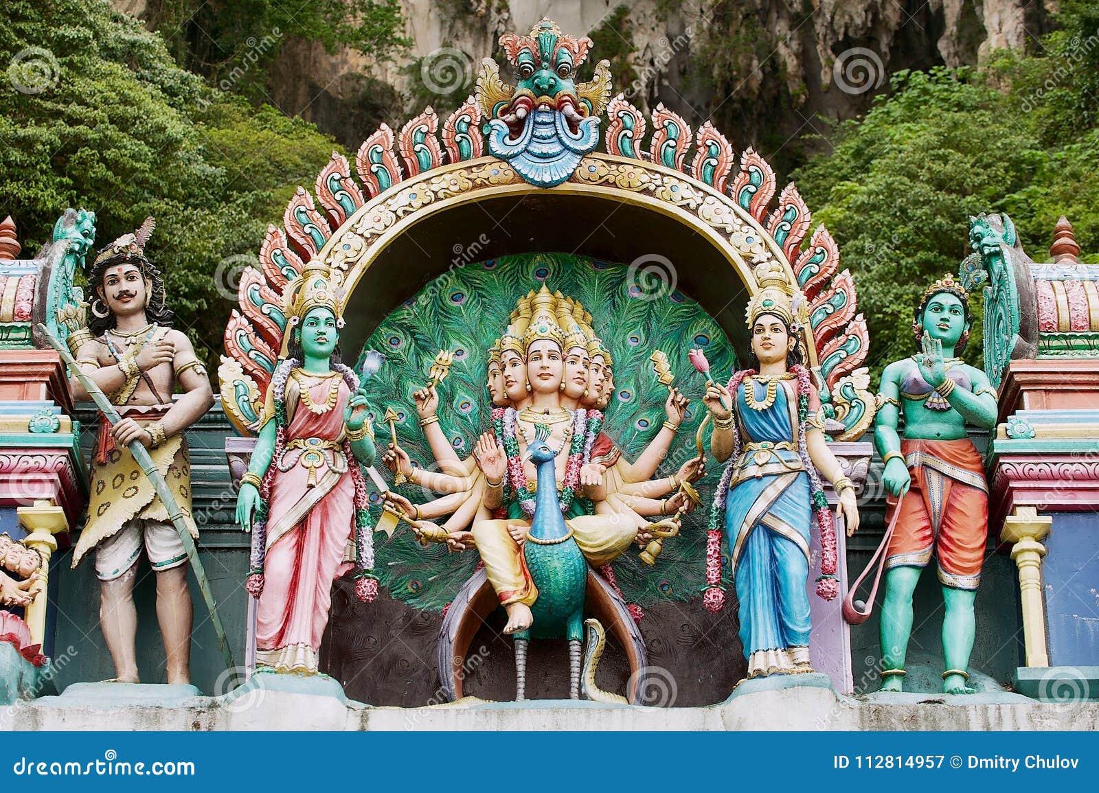 Statues of Hindu gods at the entrance to the Batu caves in Kuala Lumpur, Malaysia.
