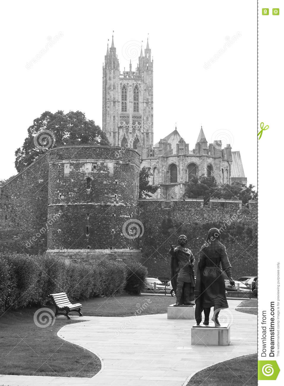 Canterbury kent united kingdom june 16 2006 view of canterbury cathedral and city wall from lady woottons green where statues of king ethelbert and