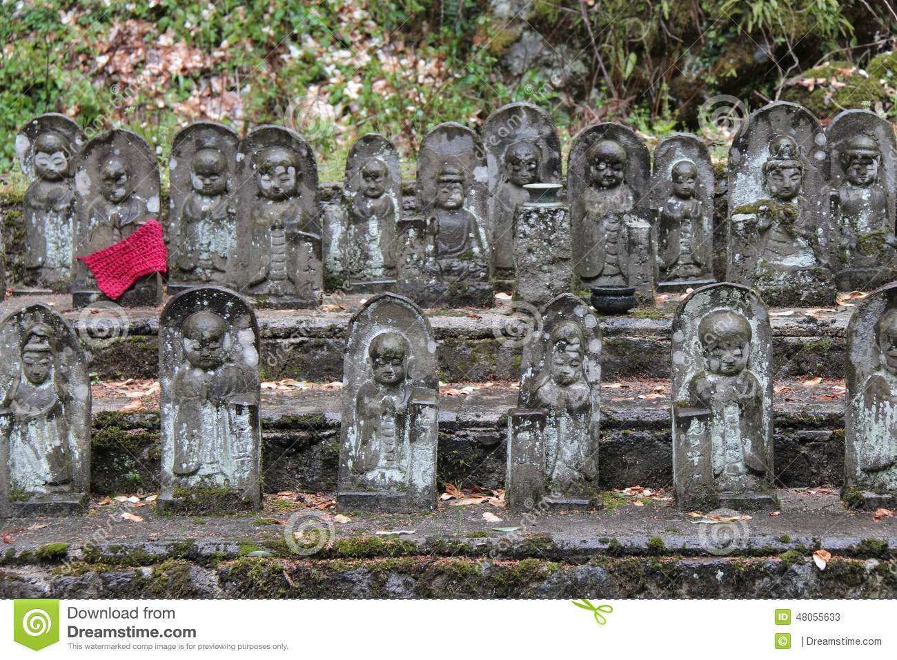 Statues Of Shinto Deities Decorate The Courtyard Of A Shrine