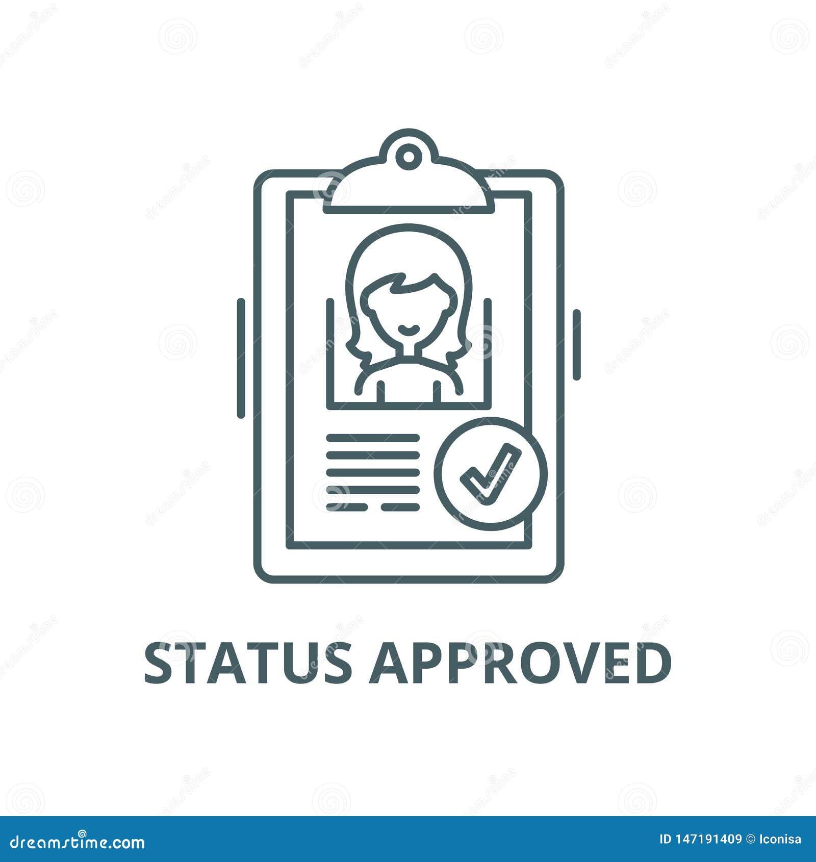 Status zatwierdzająca wektor linii ikona, liniowy pojęcie, konturu znak, symbol