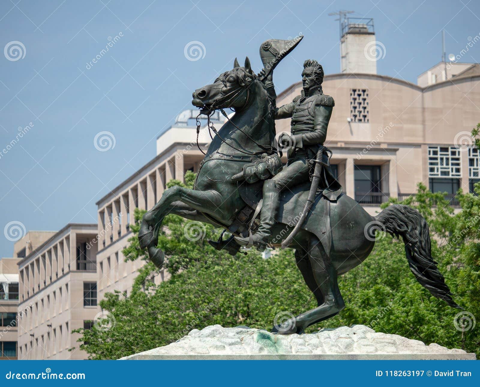 Staty av Andrew Jackson från striden av New Orleans i Lafay