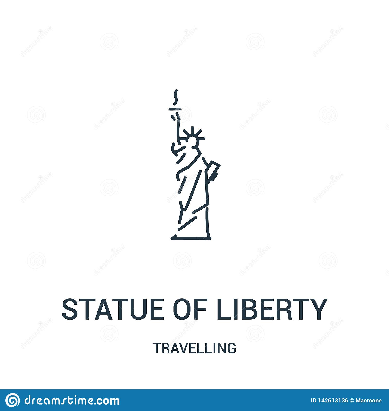 Staty av frihetsymbolsvektorn från att resa samlingen Tunn linje staty av illustrationen för vektor för frihetöversiktssymbol lin