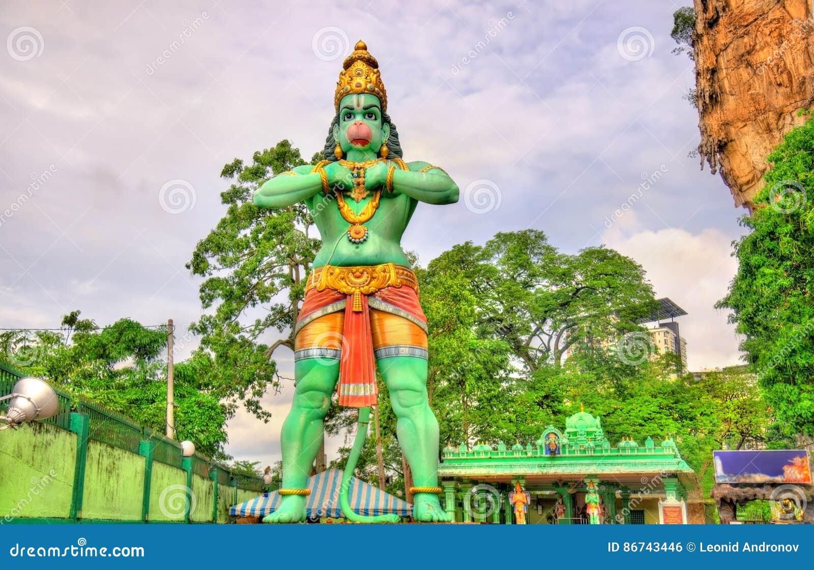 Staty av Hanuman, en hinduisk gud, på den Ramayana grottan, Batu grottor, Kuala Lumpur