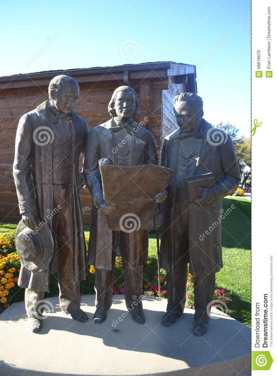 Staty av Heber C Kimball Brigham Young och Willard Richards