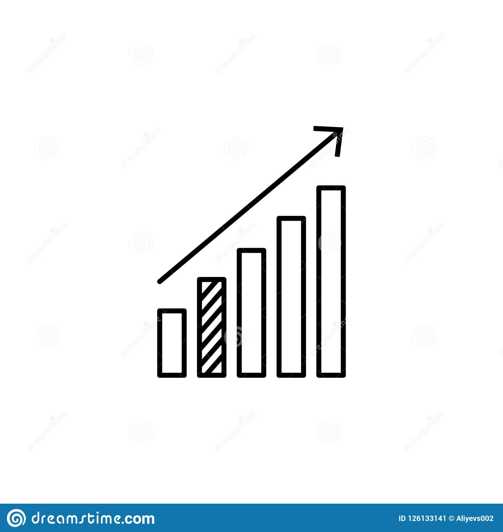 Statystyki up strzałkowatą ikonę Element online i sieć dla mobilnego pojęcia i sieci apps ikony Cienka kreskowa ikona dla strona