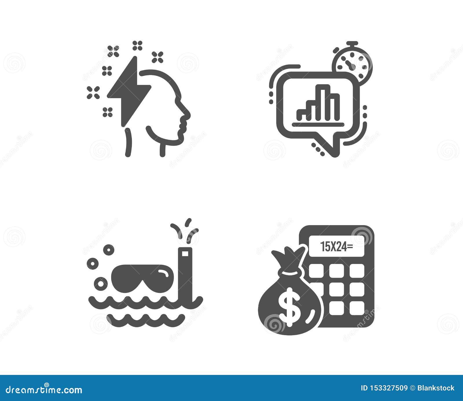 Statystyki zegar, akwalungu pikowanie i Brainstorming ikony, Finansowy kalkulatora znak wektor