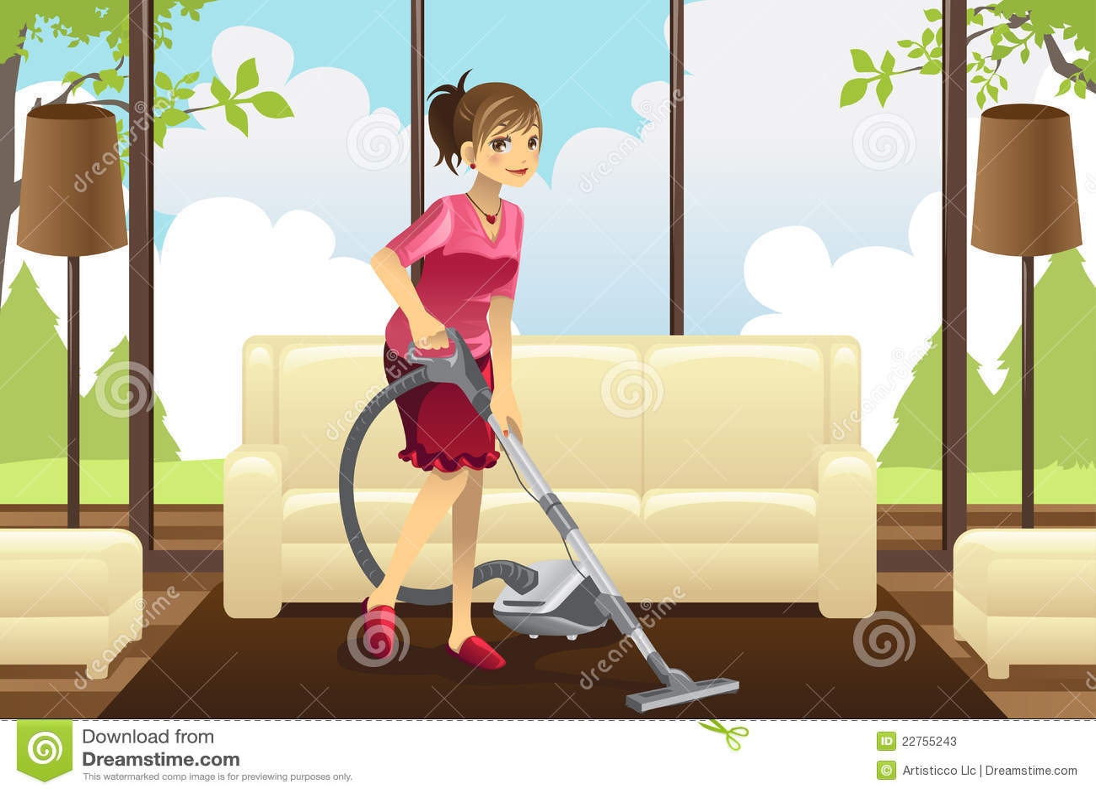 Staubsaugender Teppich Der Hausfrau Stockfotos  Bild