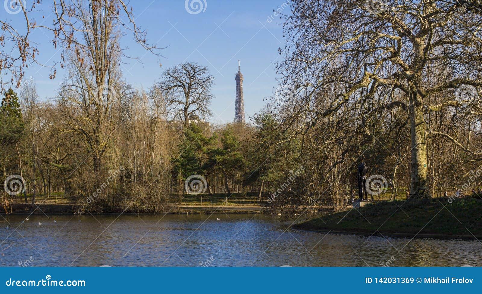 Staw w parku w Paryż Wieża Eifla - widok od Boulogne lasu