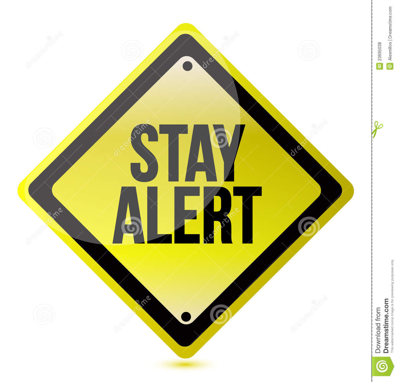 Stay Alert Yellow Illustration Design Over White Royalty Free Stock ...
