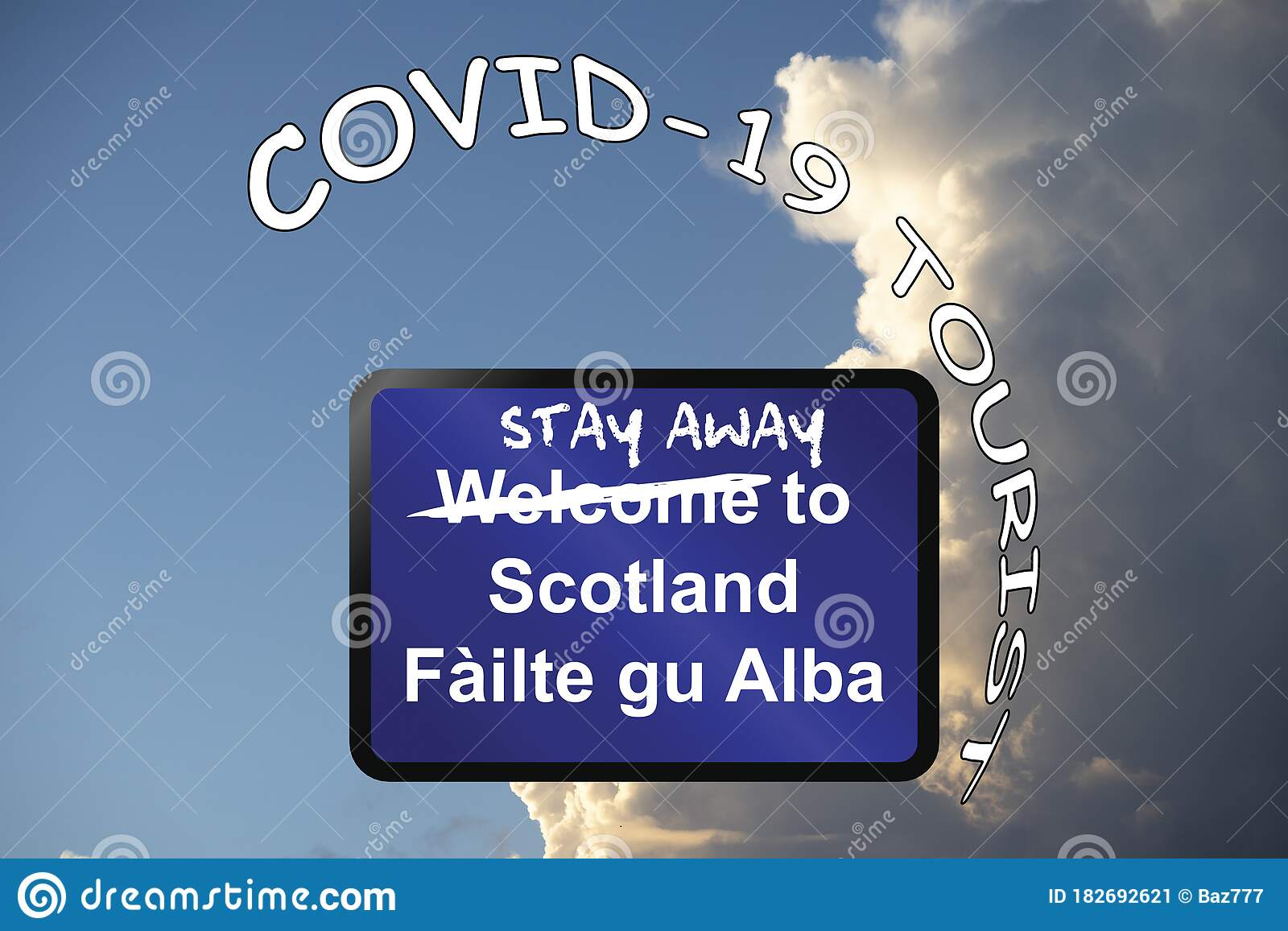 Stay Away Welcome To Scotland Sign Stock Illustration Illustration Of Coronavirus Graphic 182692621