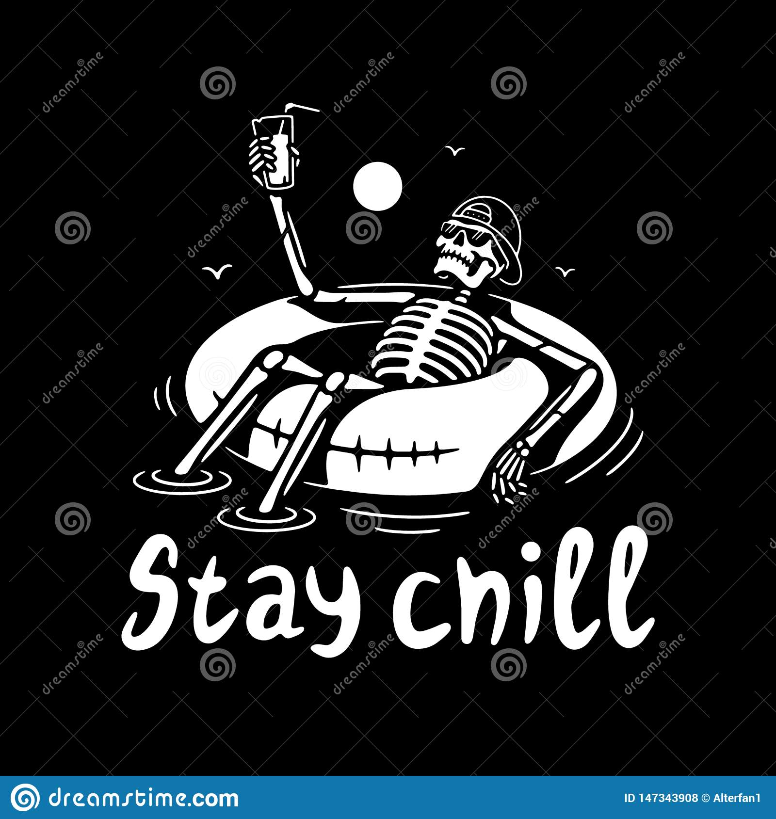 STAY CHILL SKELETON IN CAP WITH COCKTAIL AND SWIM RING WHITE BLACK