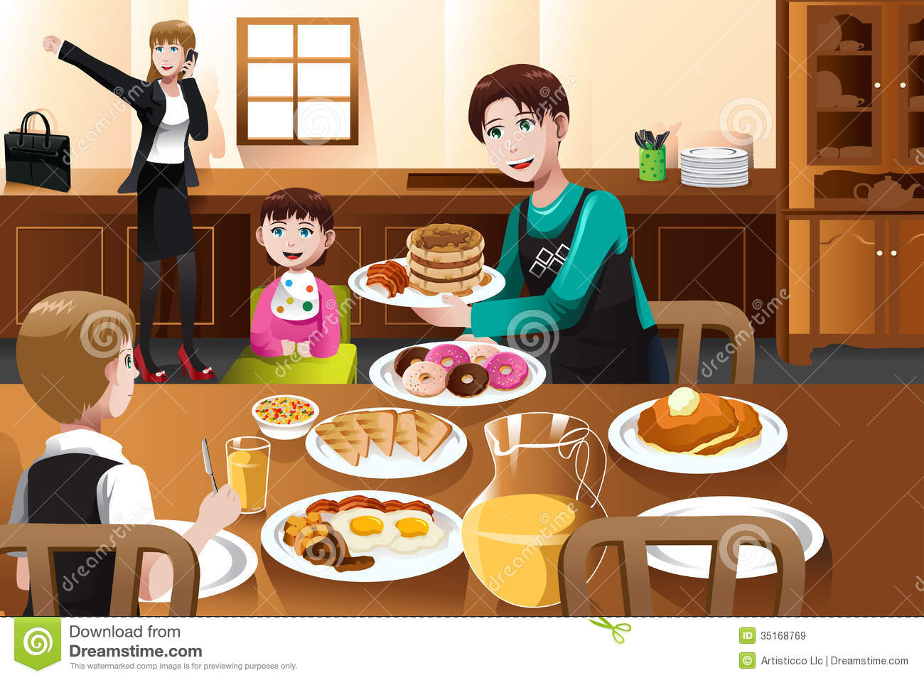 Stay At Home Father Eating Breakfast With His Kids Stock ...