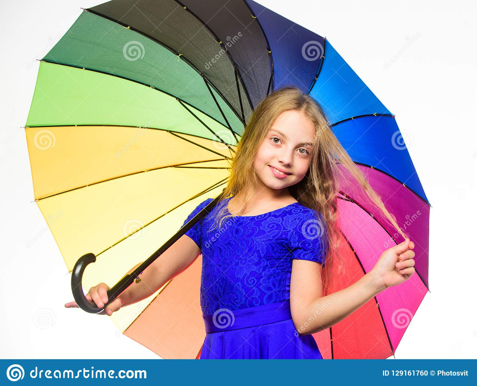 Stay positive fall season. Ways to brighten your fall mood. Girl child ready meet fall weather with colorful umbrella