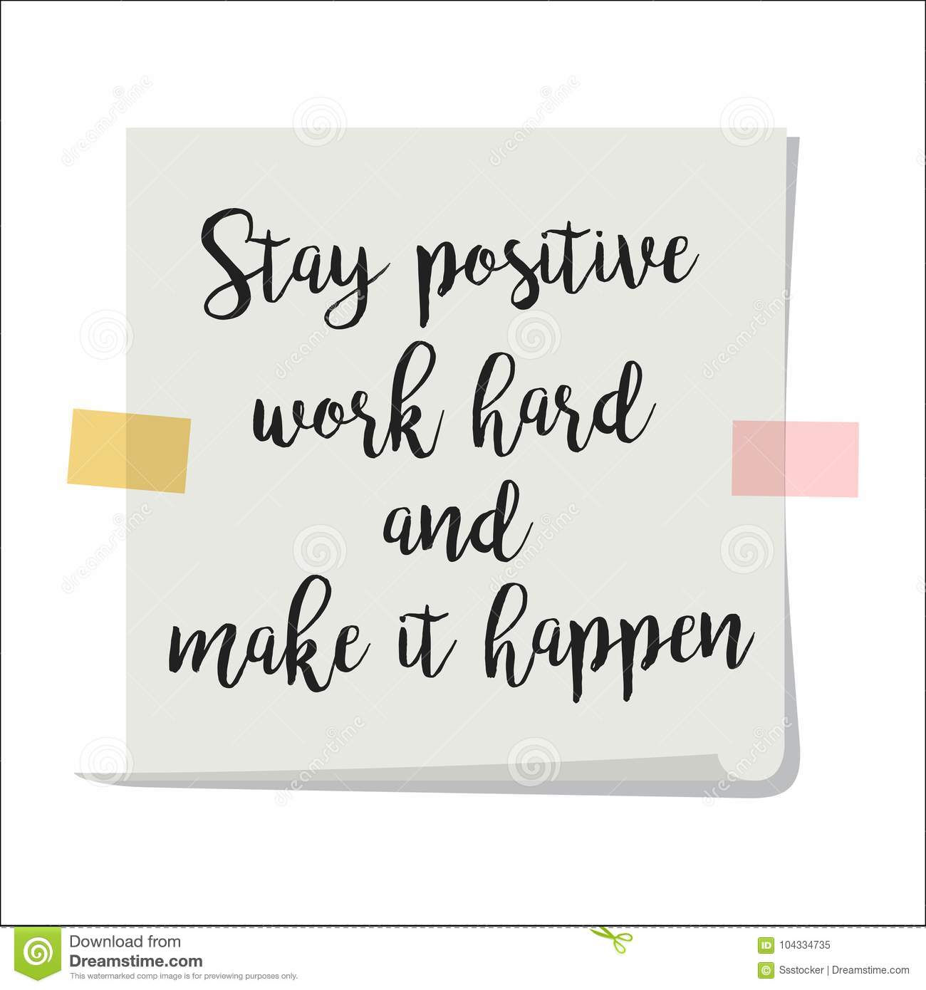 Stay Positive Motivation Paper Note Stock Vector