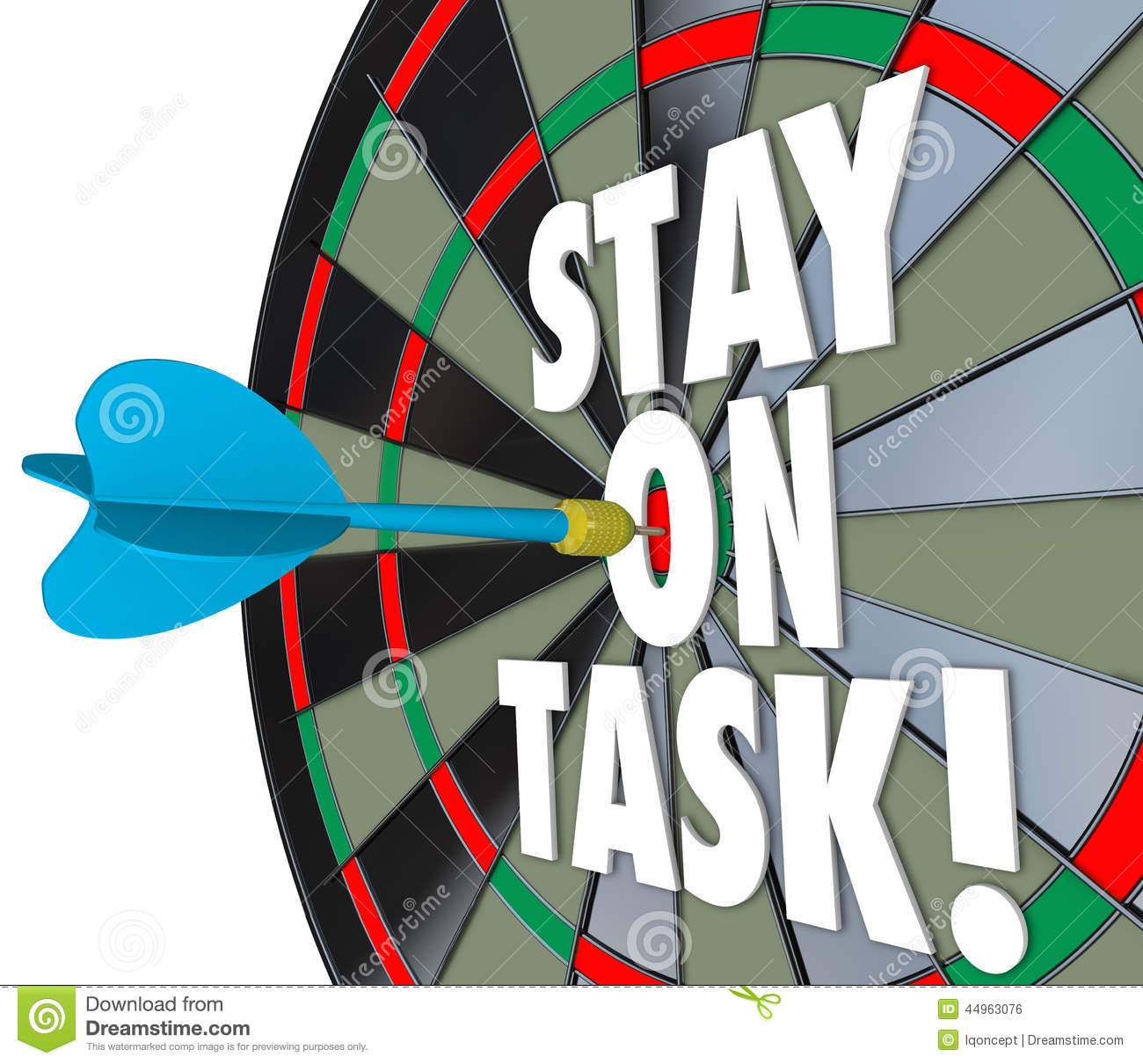stay on task 3d words dart board complete job stock illustration