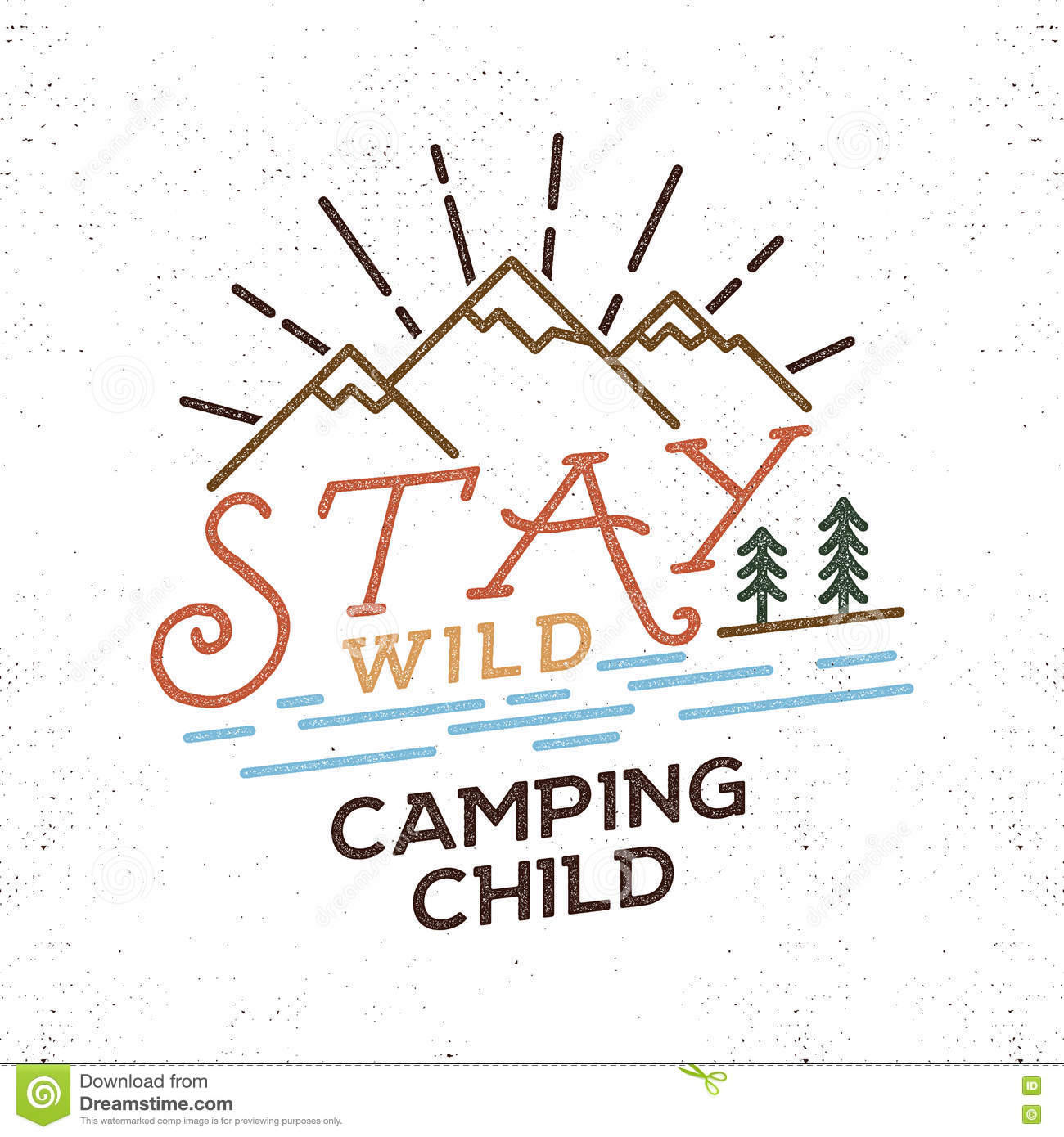 Stay Wild Camping Child Old School Hand Drawn T Shirt Print ...
