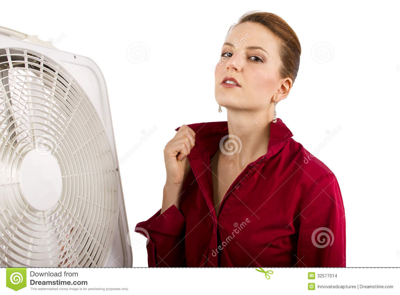 Cooling Off With Fan : Staying cool at work stock images image