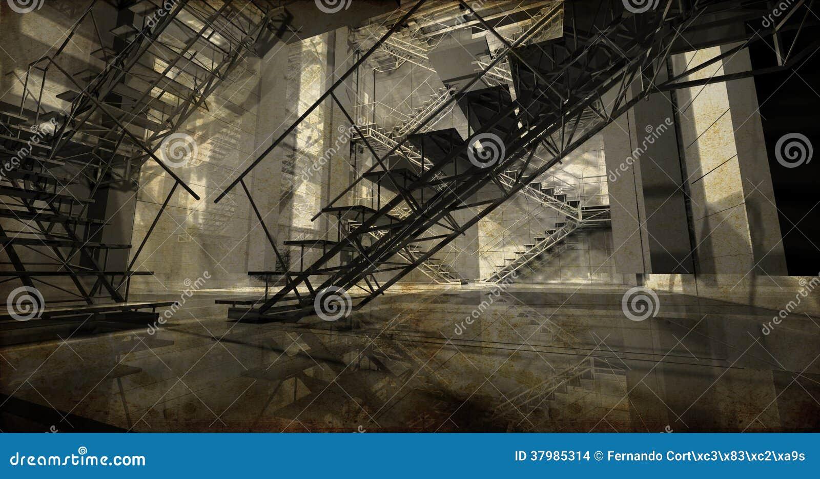 Stazione. Interno industriale moderno, scale, spazio pulito in indu