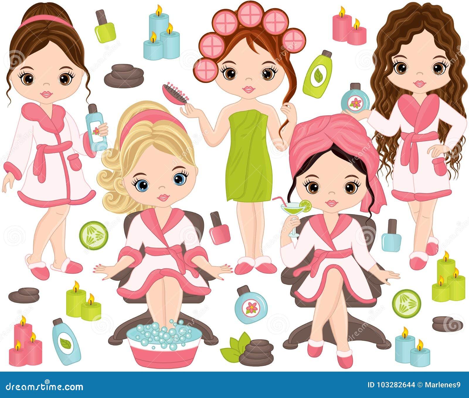 Stazione termale di vettore messa con le ragazze e gli elementi della stazione termale