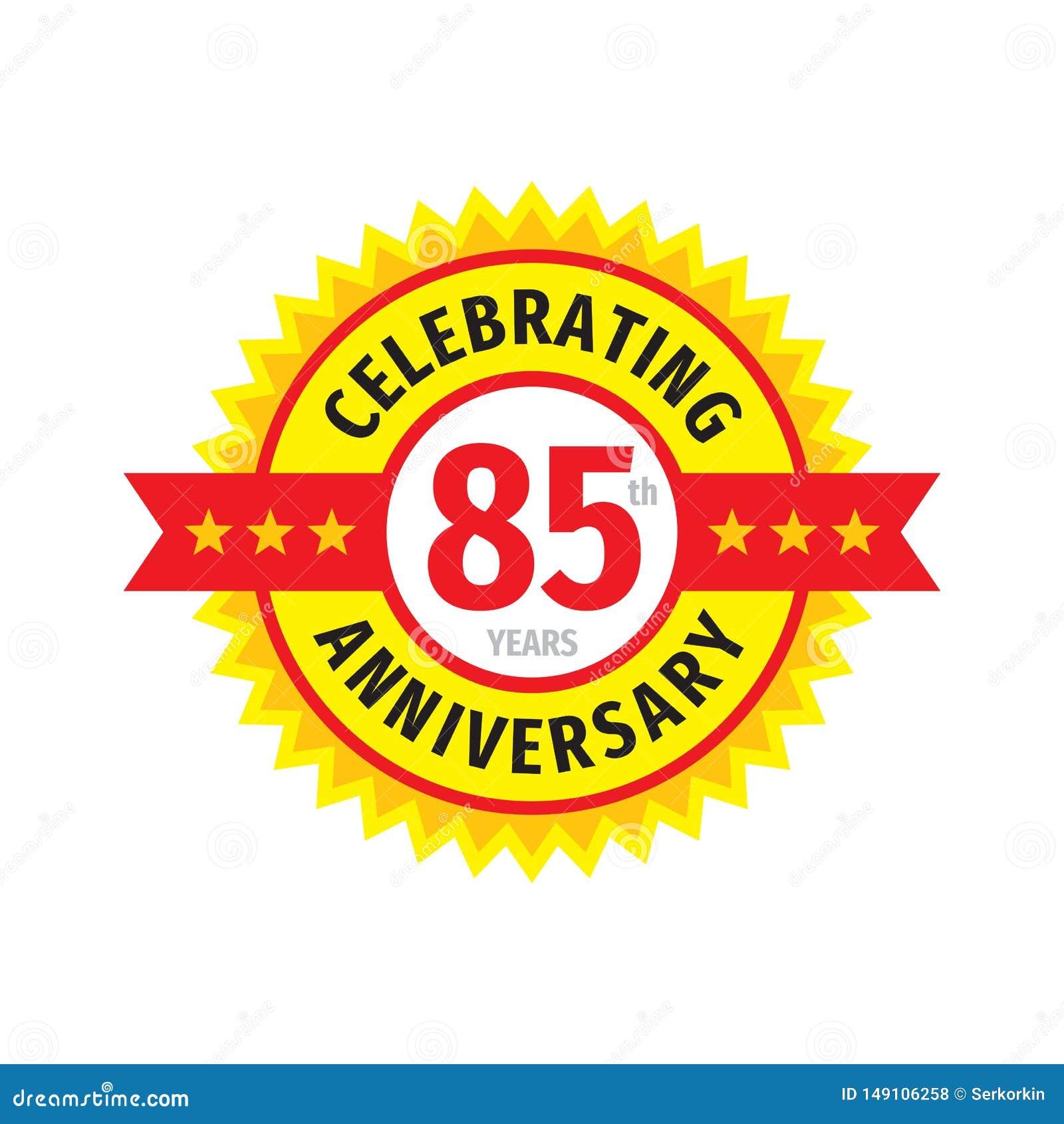85ste het embleemontwerp van het verjaardagskenteken Vijfentachtig jaar van de verjaardagsbanner het embleem Abstracte geometrisc