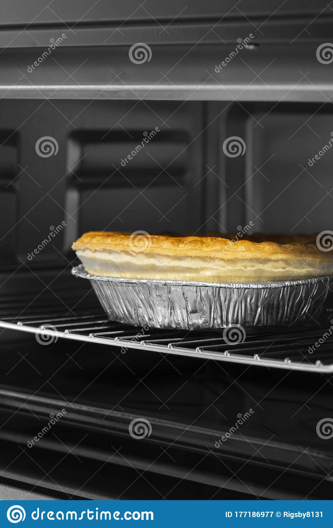 Steak And Ale Pie Cooked In An Electric Oven Grill In Foil ...