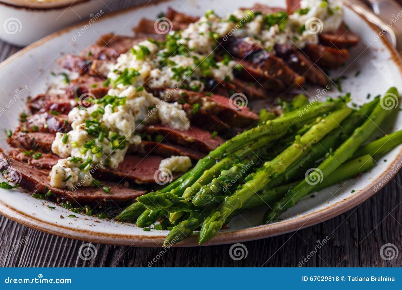 Asparagus Background Blue Cheese Sauce Steak