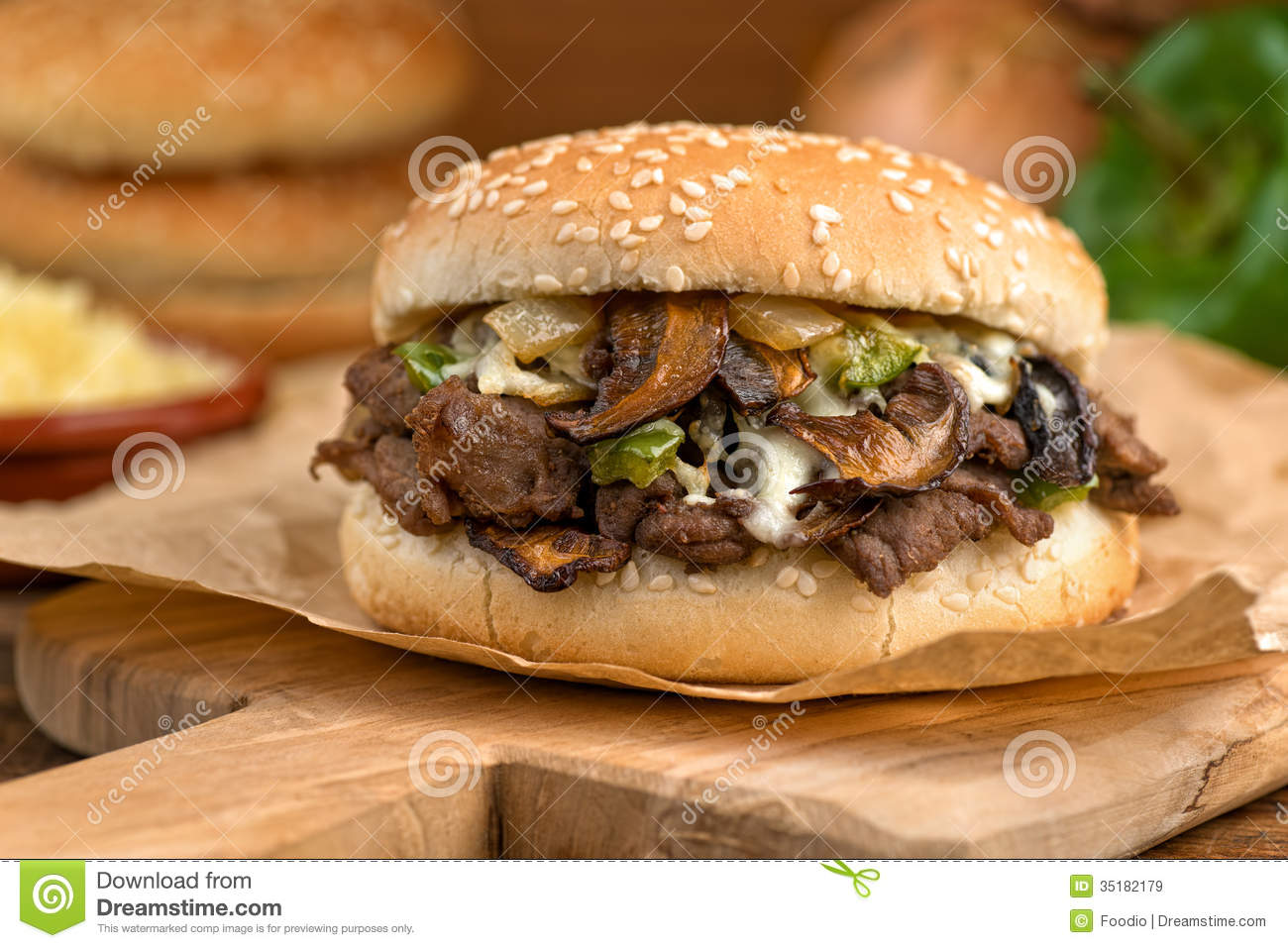 Steak And Cheese Mushroom Melt Royalty Free Stock Images ...