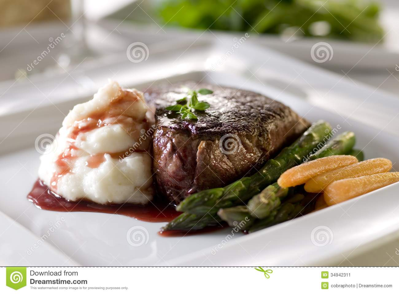 Steak stock image. Image of sauces, meat, asparagus