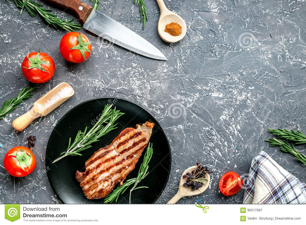 Steak Cooking With Meat And Spices On Gray Background Top View Mock ...