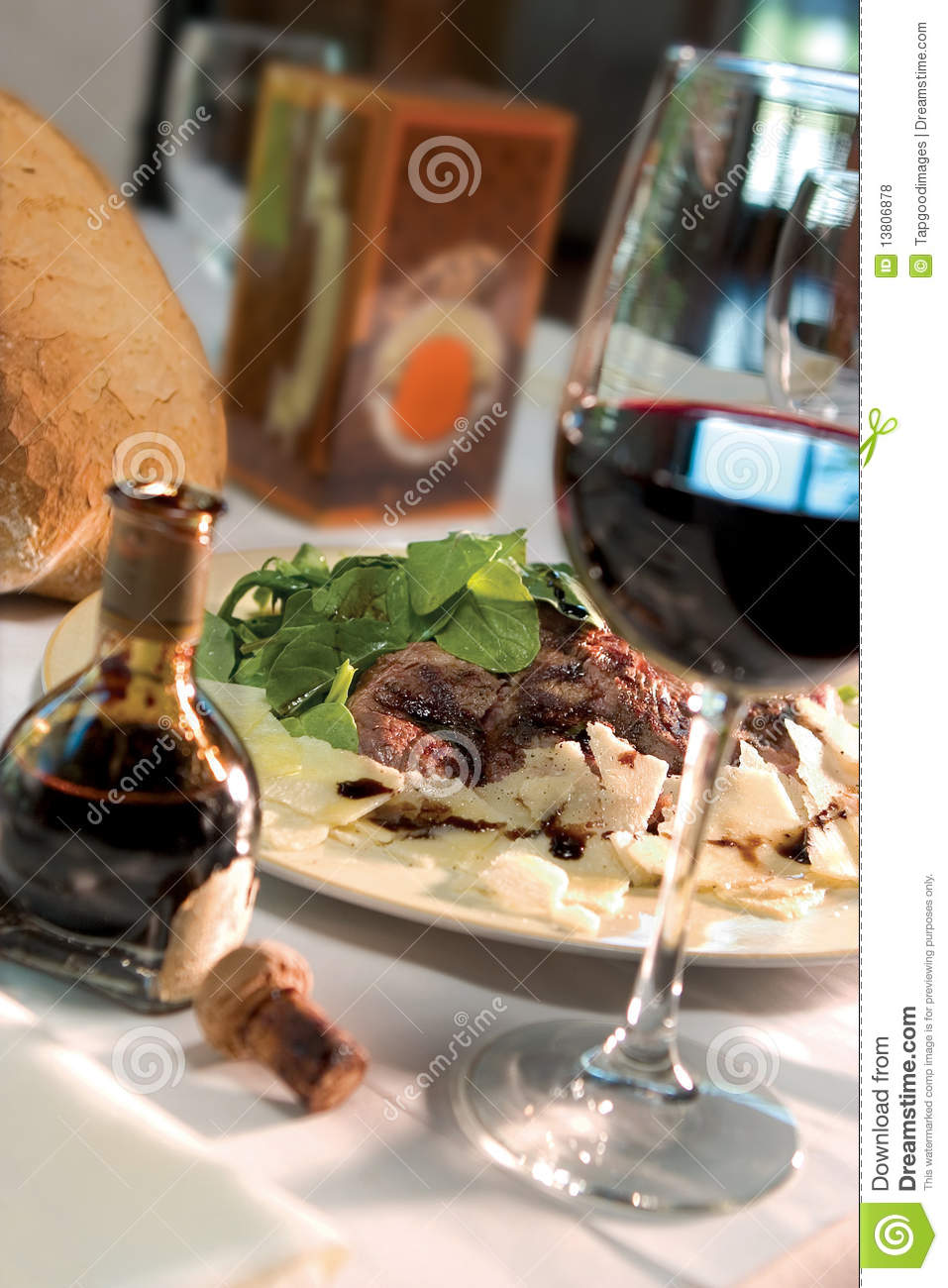 Steak Dinner With Glass Of Wine Royalty Free Stock Photos ...