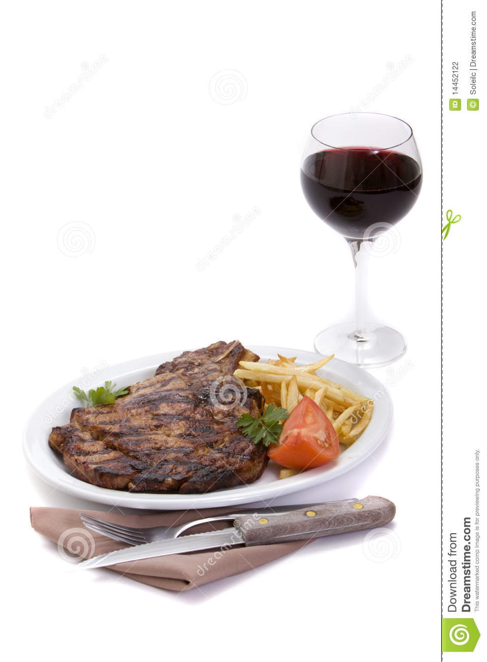 Steak dinner and red wine stock photo. Image of alcohol ...