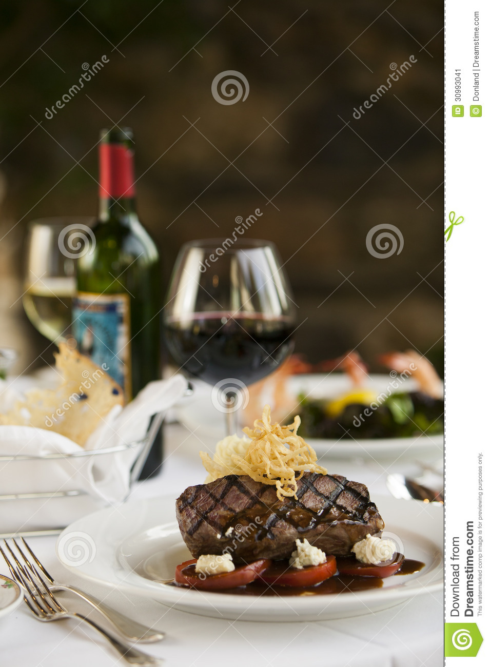 Steak Dinner On White Plate Stock Image Image 30993041