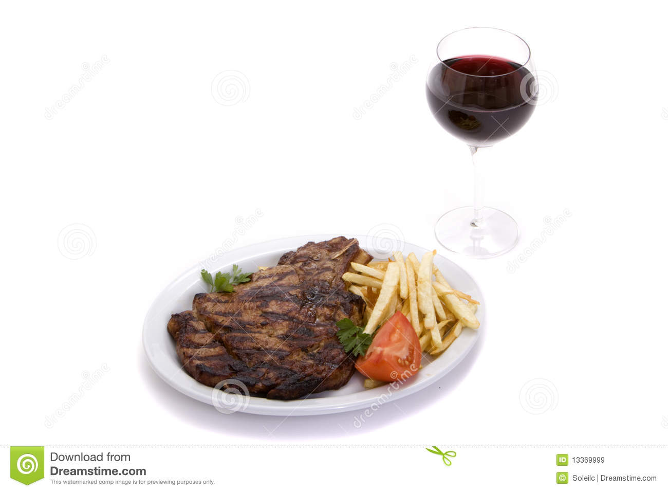 Steak Dinner And Wine Royalty Free Stock Images - Image ...
