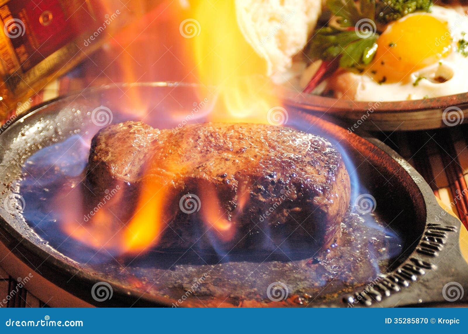 Steak Flambe Stock Photo Image 35285870