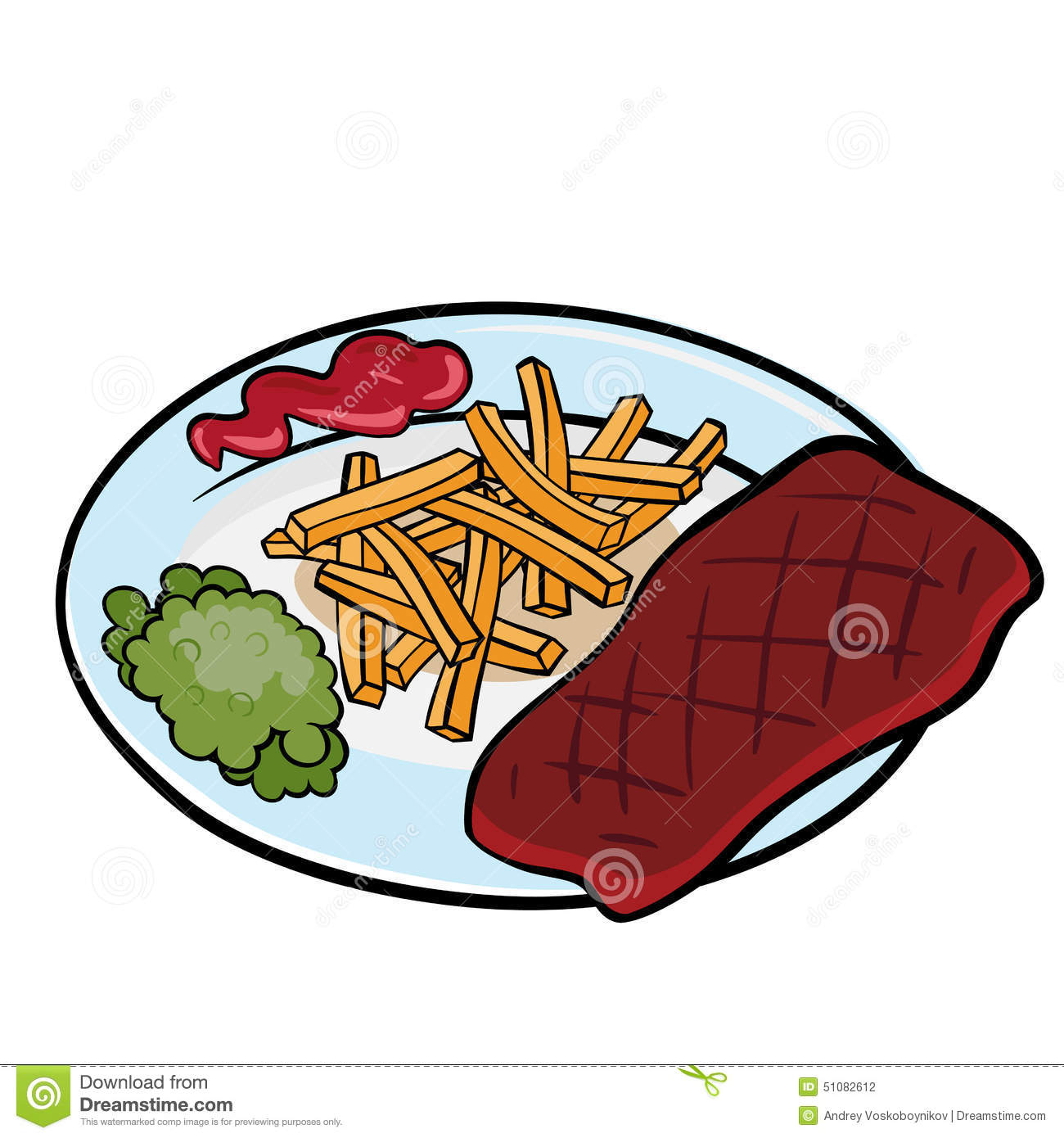 Steak with french fries stock vector. Illustration of ...