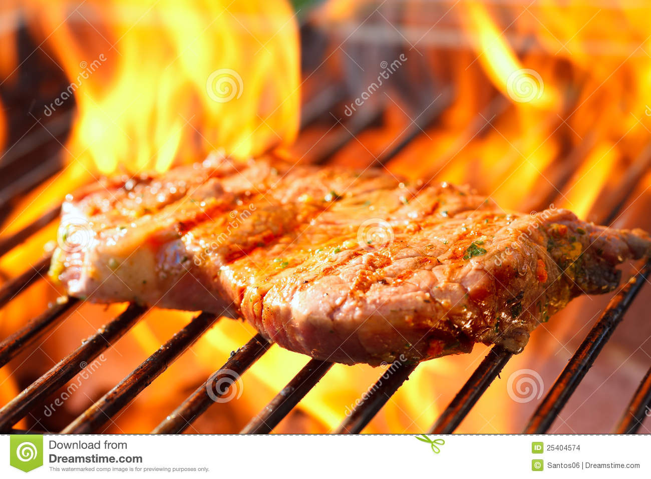 steak on grill with flames stock photo image of barbecue 25404574. Black Bedroom Furniture Sets. Home Design Ideas